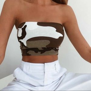 Cropped camoflauge tube top